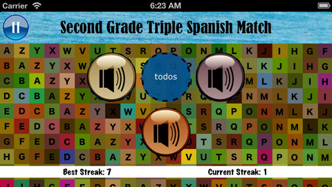 Second Grade Triple Spanish Match