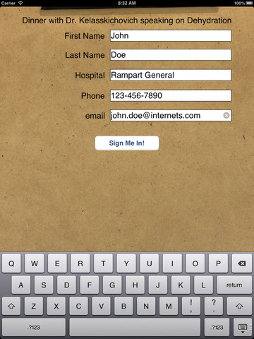 Sign-In! lets you create custom sign in sheets and collect attendee information on your iPad twitter sign in