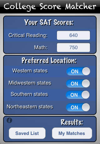 College Score Matcher good sat scores