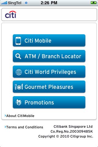 CITIBANK SG 2.0 App for iPad, iPhone