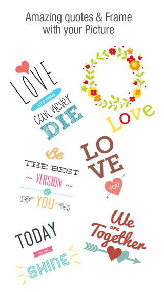 Love Quotes, Love Shapes & Love Stickers on Pictures text-gram stickers on Images love