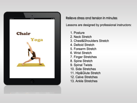 Chair yoga hd app for ipad iphone health fitness for Chair yoga benefits