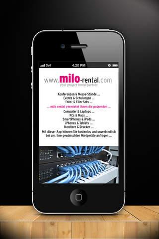 Miete ganz einfach | milo rental - your project rental partner projector screens rental