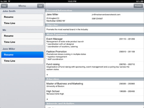 resume timeline app for iphone business