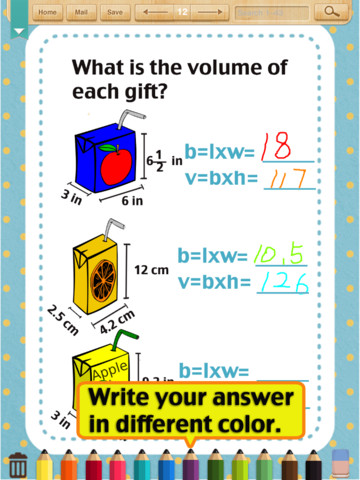 Download Kids Math-Volume&Surface Area Worksheets(Grade 6) iPad iOS