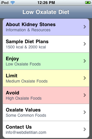 Low Oxalate Foods List http://appfinder.lisisoft.com/app/low-oxalate-diet.html