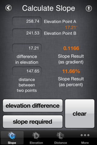 Slope calculator 1 2 app for ipad iphone productivity for Drainage slope calculator