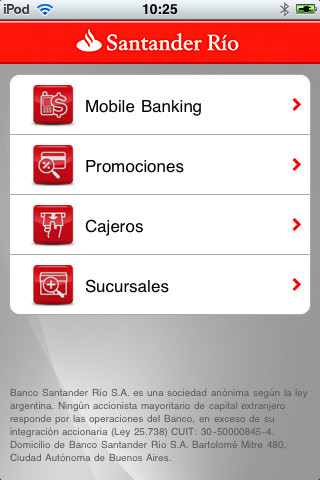 Santander r o m vil app for ipad iphone finance for Buscador de oficinas santander