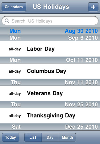 iCal US Holidays 2010-2011 App for iPad, iPhone