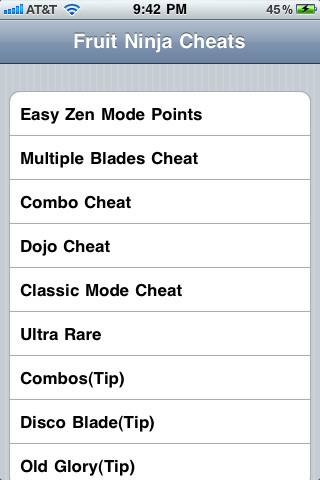 Cheats for Fruit Ninja