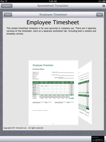 Screenshots Spreadsheet Templates