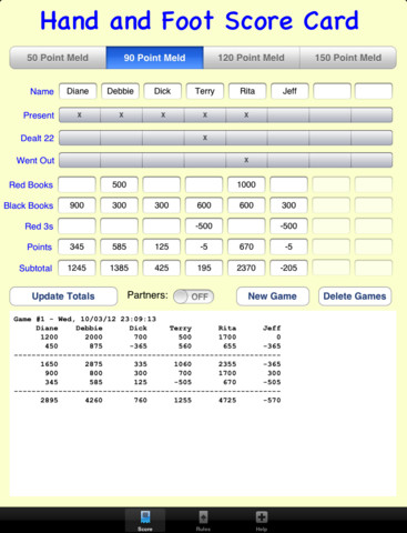 Wizard Card Game Score Sheet http://appfinder.lisisoft.com/app/hand-and-foot-score-card.html