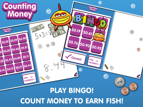 Counting money by abcya app for ipad iphone education for Fish for money app