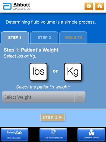 Abbott Animal Health I.V. Fluid Volume Calculator for iPad