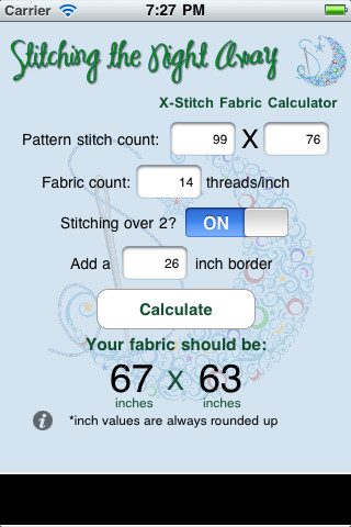 Cross Stitch Calculator printing on fabric