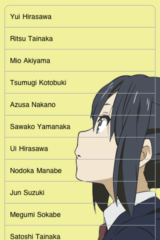 K On Characters Download K-ON Character Companion iPhone iPad iOS