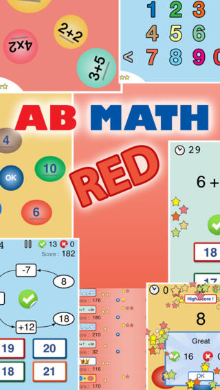AB Math Red - fun games for kids and the family : addition, times tables, mental math math games