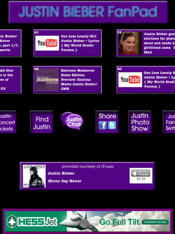 FanPad - Justin Bieber News for iPad justin bieber songs