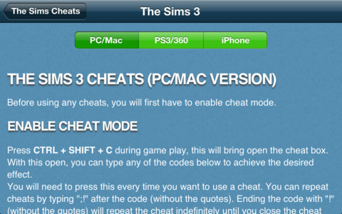 Cheats for The Sims 1, 2 and 3