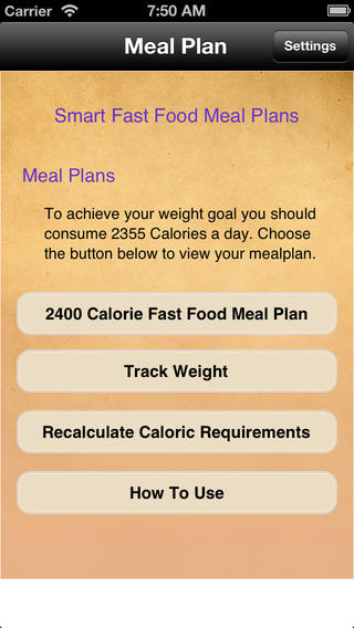 Meal Plans - Smart Fast Food 7 Day Meal Plans touring plans