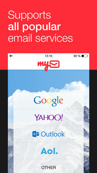 myMail - Free Email Inbox Manager for Gmail, Yahoo, AOl, Outlook and Hotmail Services