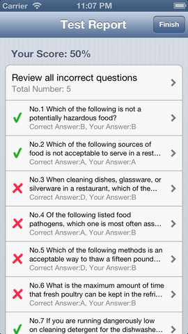 food handling test answers