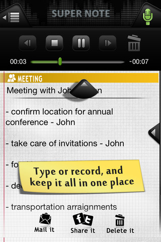 Super Note: Voice Recorder and Notes, Lite
