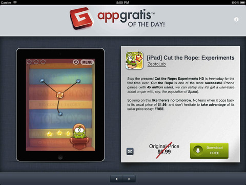 AppGratis for iPad - Free or discounted apps daily
