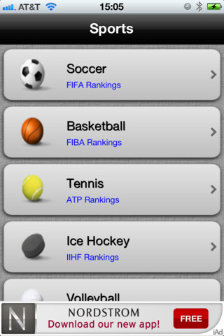 World Sports Rankings with Ads individual and team sports