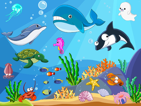 shape puzzle underwater hd   word learning game for kids