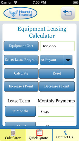 equipment lease calculator 1 0 app for ipad iphone finance app by sjoerd schaap. Black Bedroom Furniture Sets. Home Design Ideas