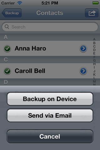 Backup Contacts - Easy Backup for iPad