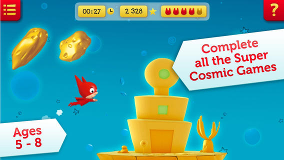 SamSam Super Cosmic Games. 9 educational and brain games of logic, speed and memory. App for kids ages 5 to 8. elementary educational games