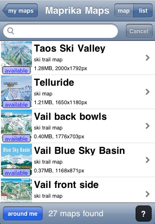 "GPS on all maps - Maprika puts ""you are here"" sign on any map: ski resort, park or campus map"