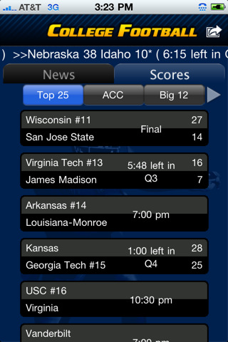 colleges football scores