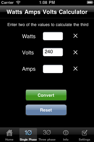 Calculate Watts From Volts And Amps >> Watts Amps Volts Calculator Productivity Power Factor