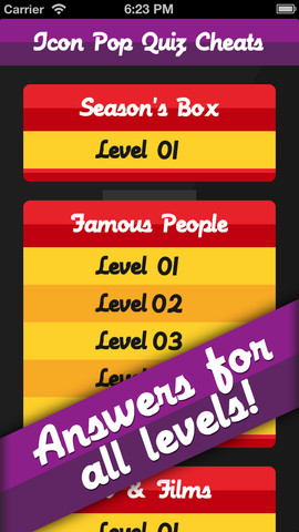 Cheats for Icon Pop Quiz - Answers for every level! 1.0
