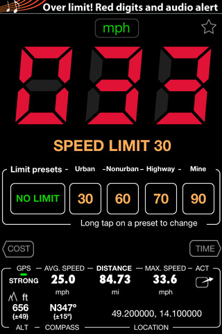 Speedometer - Free - Speed Limit Alert