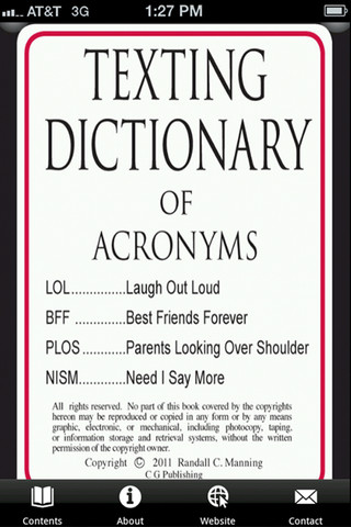 Dictionary for texting