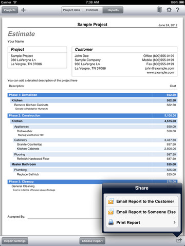 Construction cost estimator for ipad app for ipad iphone for Construction cost estimator online