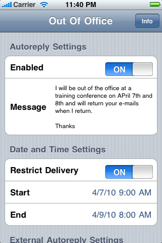 out of office iphone out of office outlook assistant app for iphone 1001