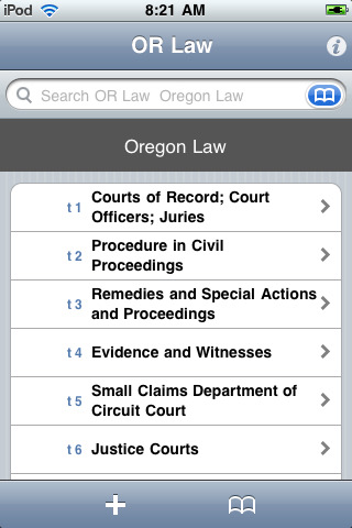 Oregon Laws (62 Titles of OR Law)