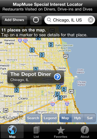 Diners, Drive-ins and Dives Locator by MapMuse
