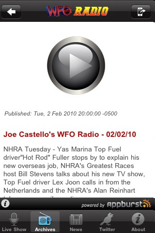 Auto Racing Nascar Incar Radios on Wfo Radio  Nascar  Nhra  F1    Indycar Racing Talk 2 3 0 App For Ipad