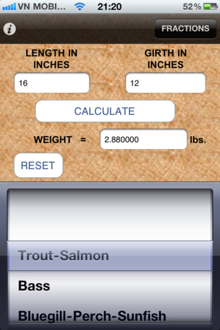 Mynature fish weight calculator app for ipad iphone for Fish weight calculator