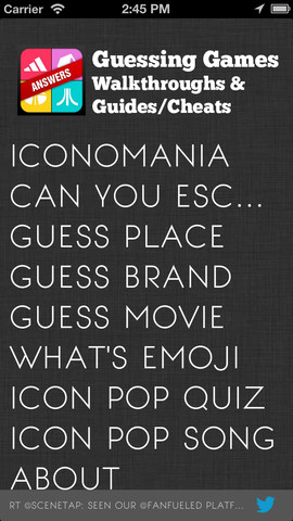 Cheats For Guess The Brand , Movie , Place + Iconmania , Song Pop ...