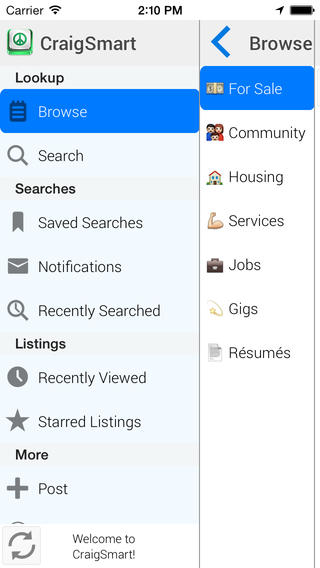 CraigSmart for Craigslist - Notifications, Alerts, Saved Searches, Starred Listings & History