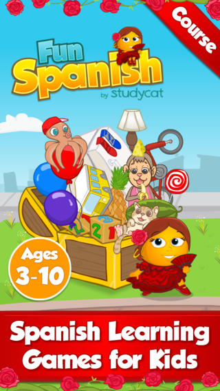 Fun Spanish Course by Studycat: Learn Spanish - Language Learning Games for Kids ages 3-10. learning spanish online
