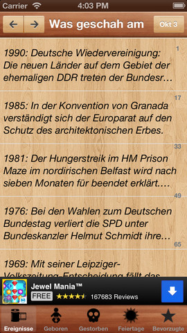 On This Day History Was geschah am ( German Version Free ) german cuisine history