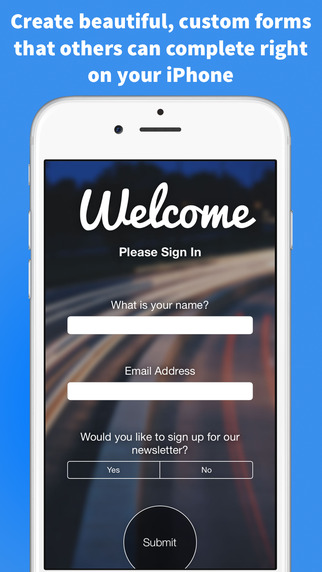 Sign In - Create custom forms and surveys for live sign in and lead capture twitter sign in
